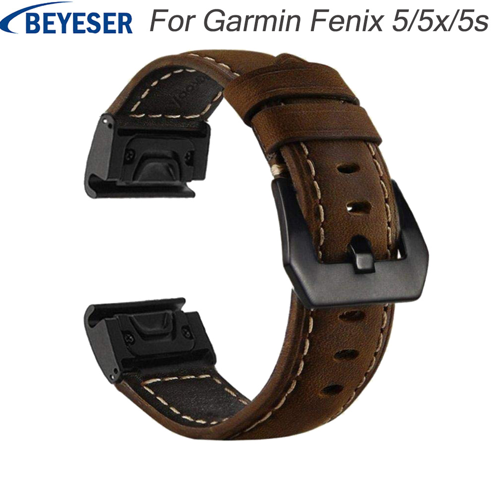 20 22 26 mm Leather watchband wrist strap for Garmin Fenix5 5 plus 5X/5S Watch Quick Release easy fit wriststrap for Garmin 935 image