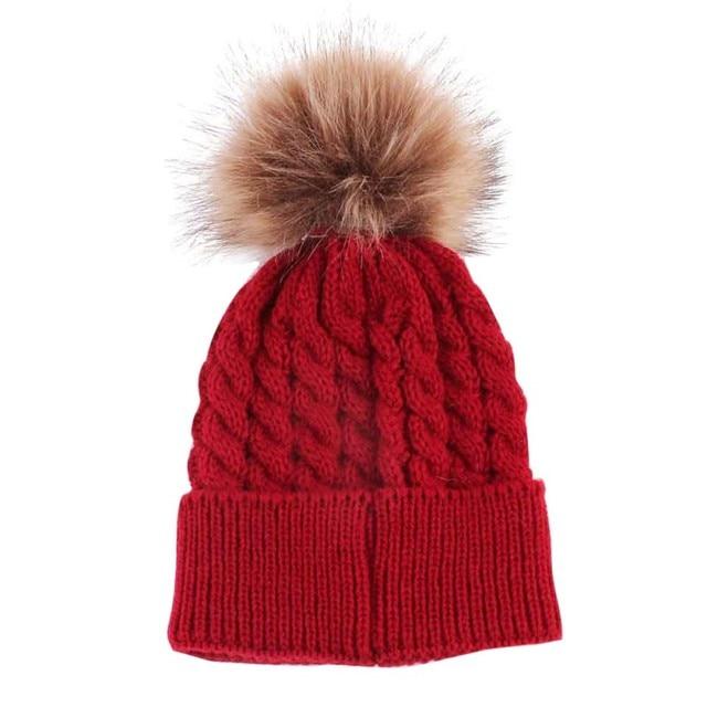 Winter Warmer Infant Girls Boys Wool Fur Pompom Ball Newborn Baby Kids Knitted Hat