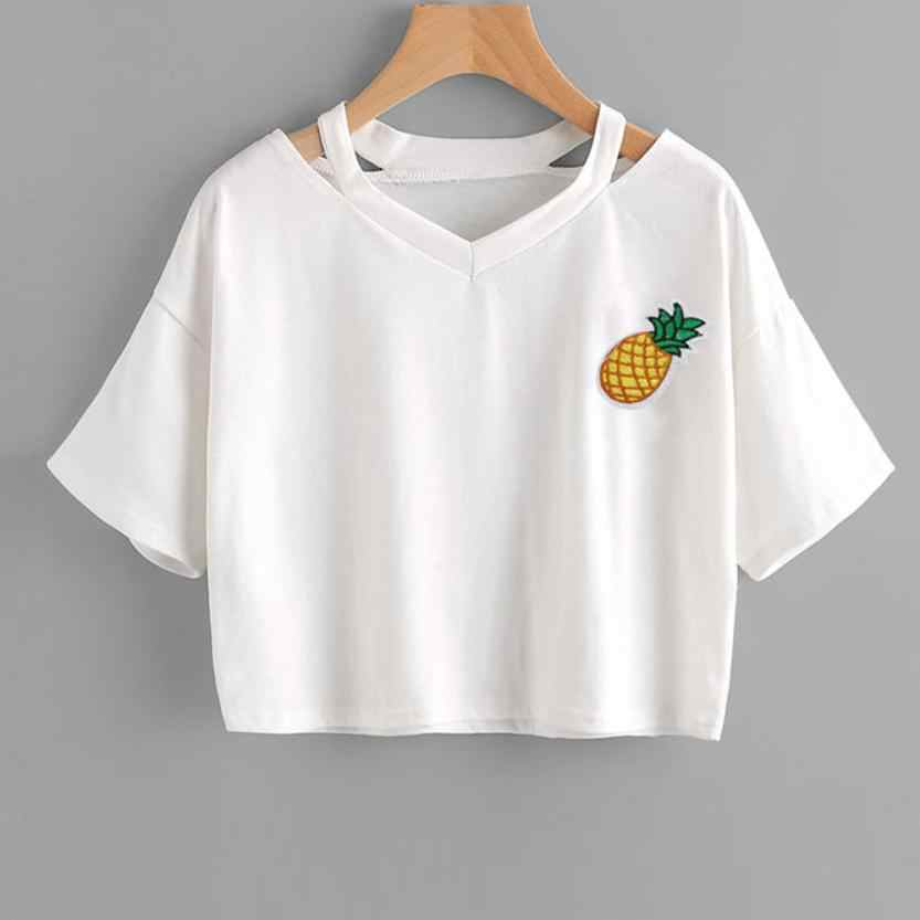 b5037dda17f ... Feitong Summer Women Crop Tops Casual Pineapple Printed Tank Short  Sleeve Tops Tee Shirt femme Camisetas ...