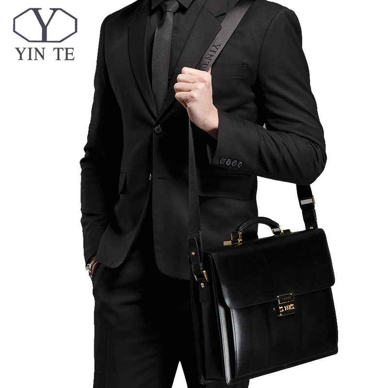 YINTE Leather Mens Briefcase High Quality Business Men Laptop Bag Brown Lawyer Handbag Document Case Totes Portfolio T8158-5