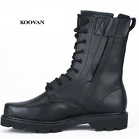 Koovan Men Shoes New 2017 Cool High Genuine Leather Cashmere Men Martin Boots Military Warm Winter