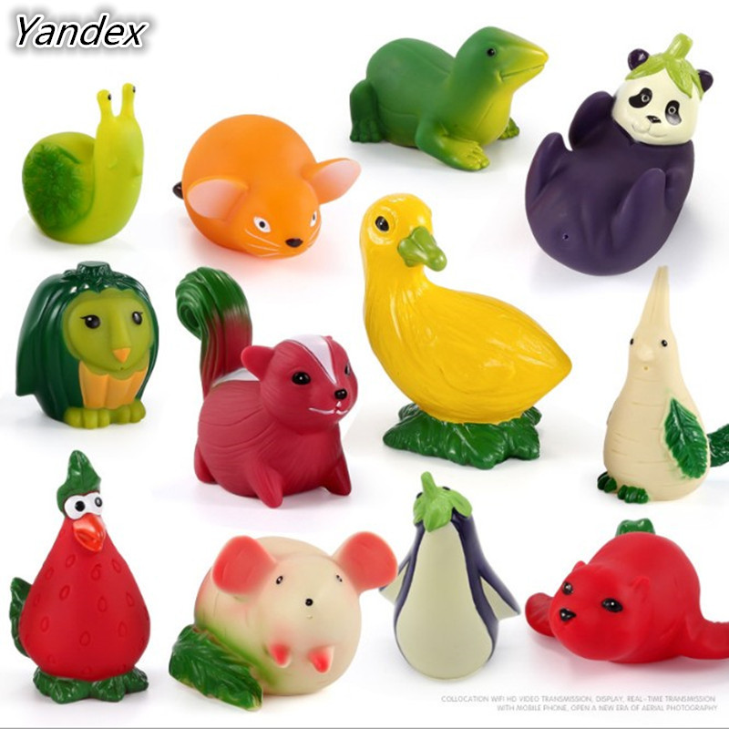 Yandex 4pcs/set lol vegetables animals PVC extrusion squishy animals bathing playing water spraying childrens bath baby toys