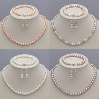 7 8mm Real Natural Freshwater Pearl Necklace Bracelet Earrings Jewelry Set