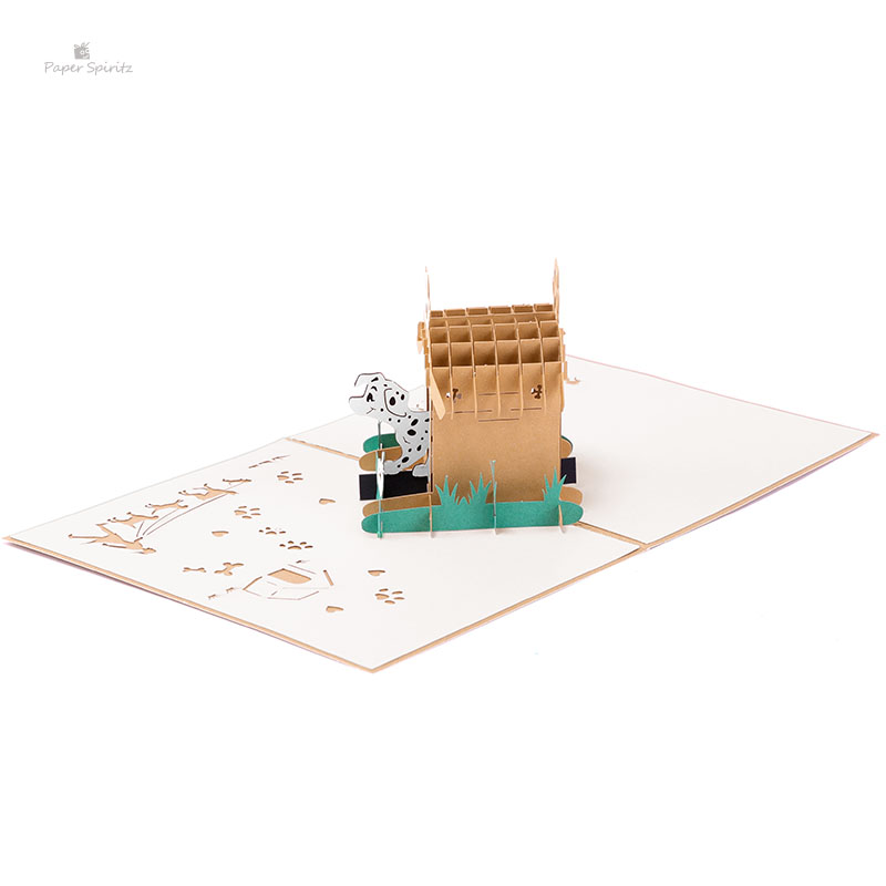 Pop up Dog's Home Cards laser Cut 3D Cards with blank envelope invitations greeting cards jungle pokemon invitation image
