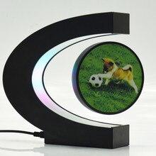 C şekli dijital çerçeve elektronik manyetik levitasyonunun yüzen küre fotoğraf çerçevesi mavi ışık doğum günü hediyesi noel düğün hediye