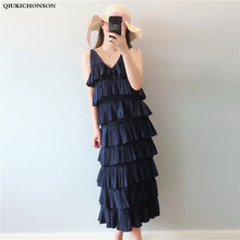 4XL 5XL Plus Size Women Layered dress Summer Long Dress High Waist Backless V Neck Korean Style Women Sexy Spaghetti Strap Dress недорого