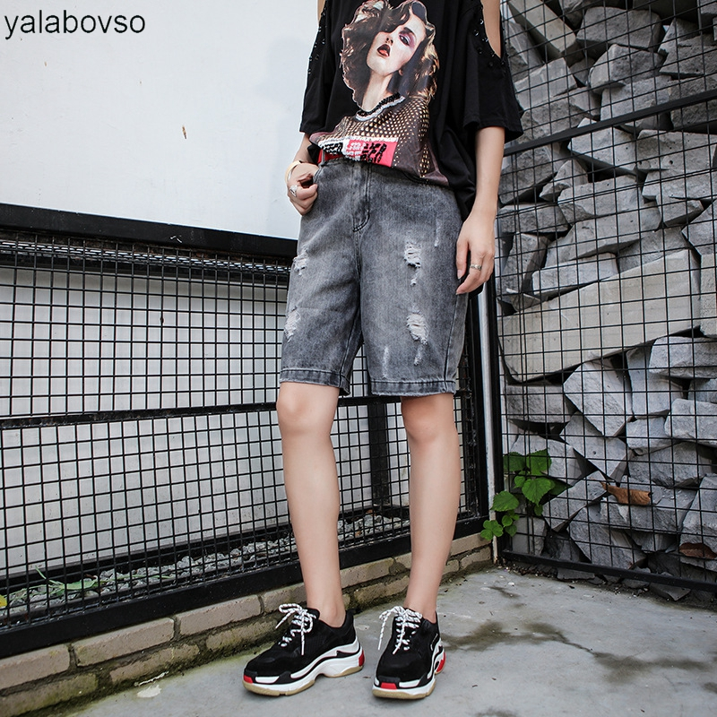 Straight Hole Shorts Vintage Denim Pants Loose Trousers Straight Jeans for woman S M L XL size A111 8809z20
