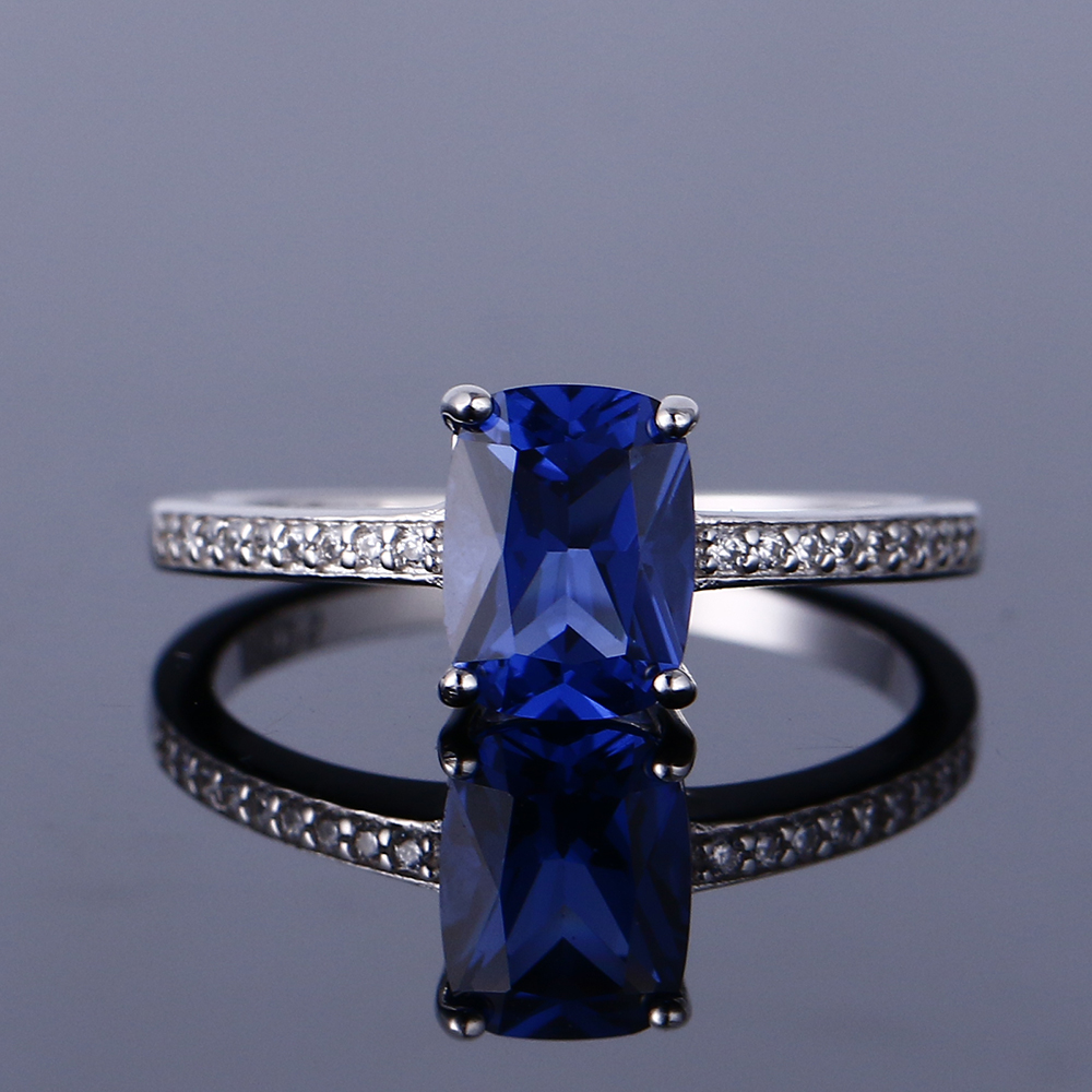 GUYINKU S925 Sterling Silver Ring Lady Blue Topaz & Emerald Royal Gemstone Romantic Gift Engagement Jewelry