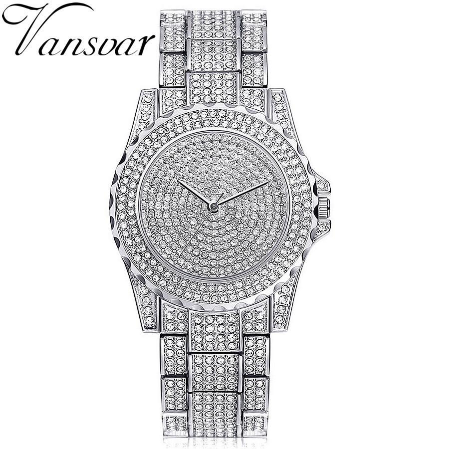 Crystal Quartz Watch Vansvar Brand Austrian Crystal Watch Diomand Rhinestone Women Dress Watch Luxury Bangle Bracelet Wristwatch new arrival grace bs brand full diamond luxury bracelet watch hot sale women 14k austrian crystals watch lady rhinestone bangle