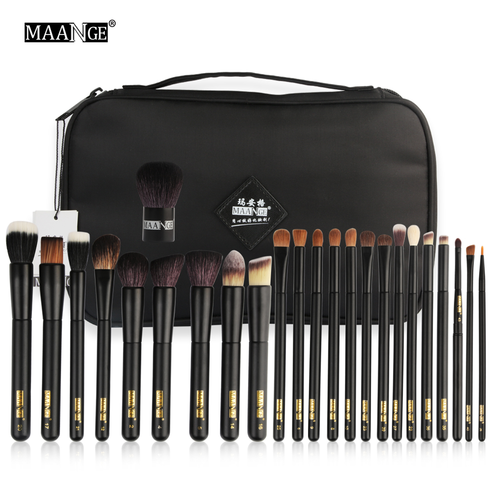 MAANGE 24Pcs Professional Makeup Brushes Set Face Eyes Lips Powder Foundation Eyeshadow Cosmetics Make Up Beauty Tool With Case все цены