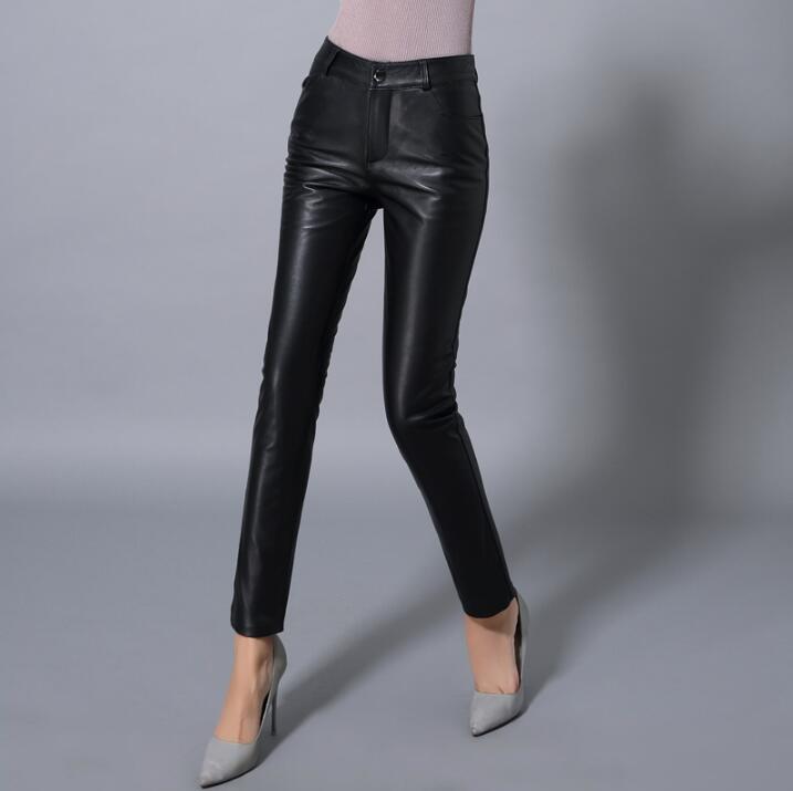 Зимние новые корейские штаны из натуральной кожи женские брюки из овечьей кожи штаны с высокой талией плюс бархатные утепленные узкие брюк