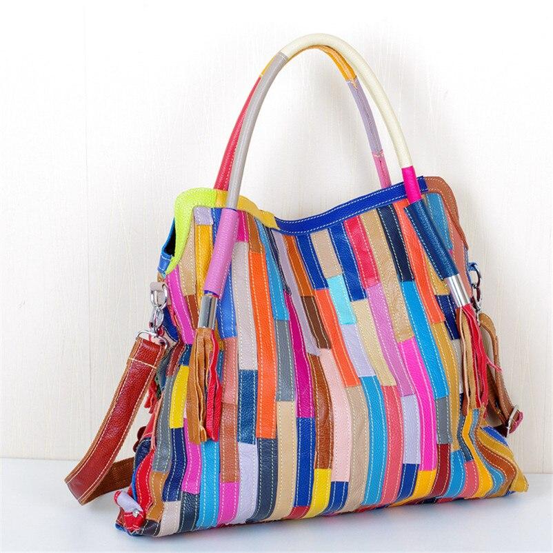 Caerlif Irregolare Stile Delle Donne Delle Borse Messenger Bag Patchwork Colorful Grande Borsa nappa borsa Sacchetti di Cuoio Genuini per le donne-in Borse a tracolla da Valigie e borse su  Gruppo 2