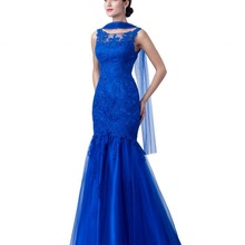 Royal Blue Lace Mermaid Long Modest Mother Bride Dr
