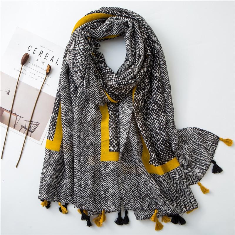 2020 damen Mode Aztec Quaste Viskose Schal Schal Frauen Hohe Qualität Wrap Pashmina Stola Bufanda Moslemisches Hijab Snood 180*100Cm