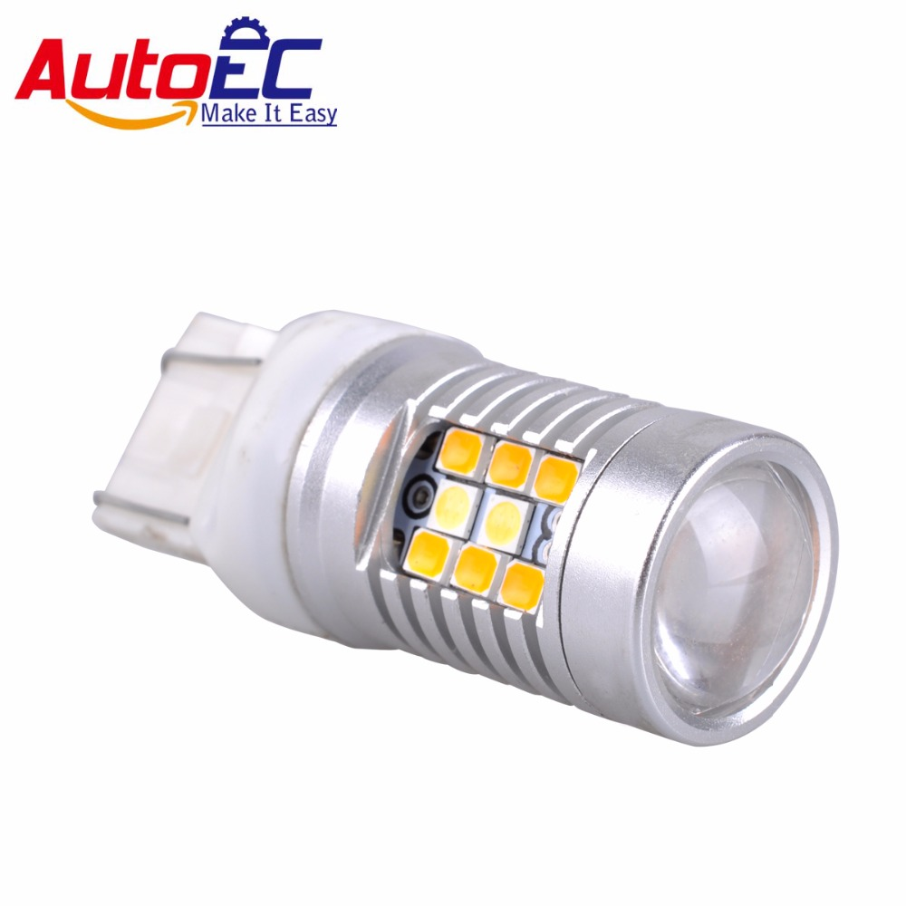 AutoEC 2x Dual Color 7443 1157 3157 28SMD 2835+3030 LED White & Amber Car Auto Front Turning Lights Signal DRL #LE17