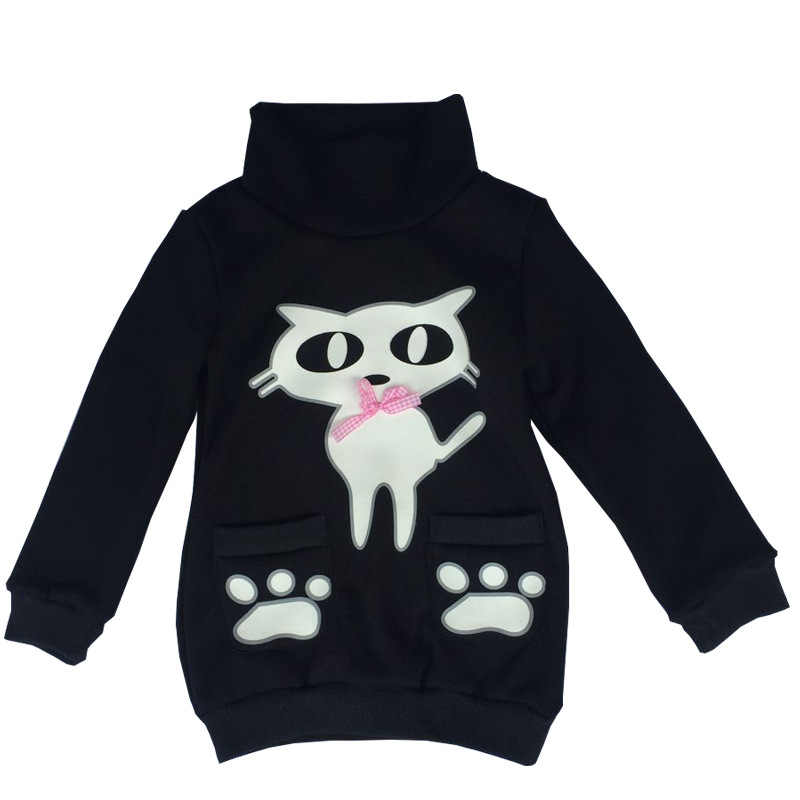 Anlencool/Новинка 2019 года, зимний джемпер с длинными рукавами для девочек, свитер, пальто, детская одежда для маленьких девочек с рисунком котенка