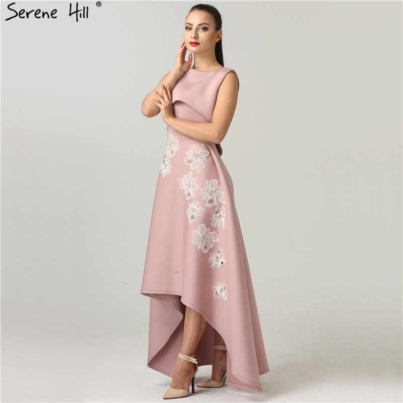 シンプルな高値安値ピンクイブニングドレス 2019 新コレクションアップリケフリルフォーマルドレスパーティードバイローブ · ド · 夜会 BQA8013