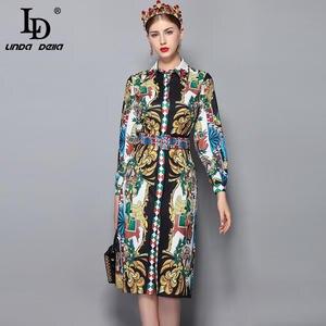 2ac84c83ea35 LD LINDA DELLA 2018 Autumn Women s Long Sleeve Vintage