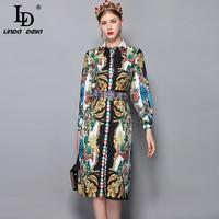 LD LINDA DELLA 2018 Autumn Fashion Runway Dress Women's Long Sleeve Crystal Beading Belt Retro Floral Print Vintage Dress