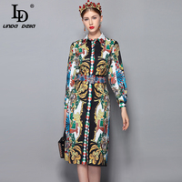 LD LINDA DELLA 2018 Autumn Fashion Runway Dress Women's Long Sleeve Crystal Beading Belt Retro Floral Print Vintage Dress