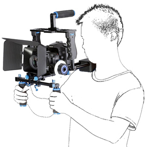 Image 2 - אחיזה כפולה DSLR מצלמה כתף Rig סרט סרט ערכת מערכת וידאו לחיצת יד תמיכה כלוב עבור Canon Nikon Sony מצלמות BMCC panasonic