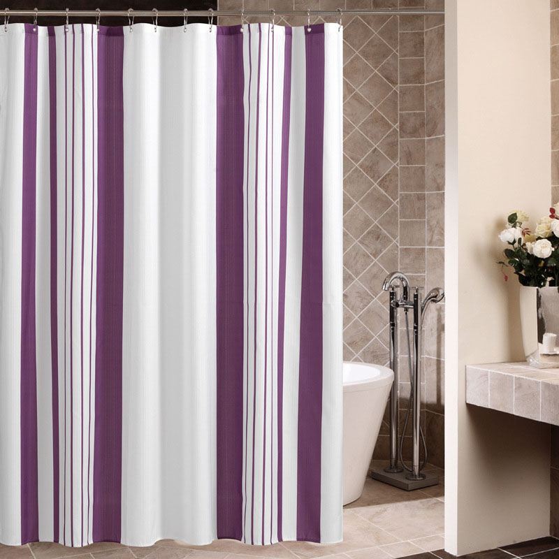Purple Vertical Striped Bath Shower Curtain Polyester Waterproof