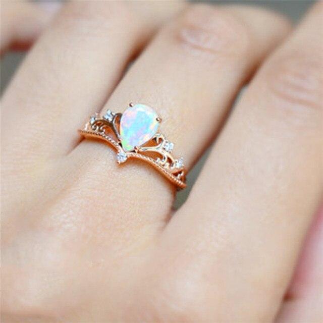 Boako Rose Gold Crown Ring Zircon Elegant Fire Opal Engagement Wedding Band Rings For Women
