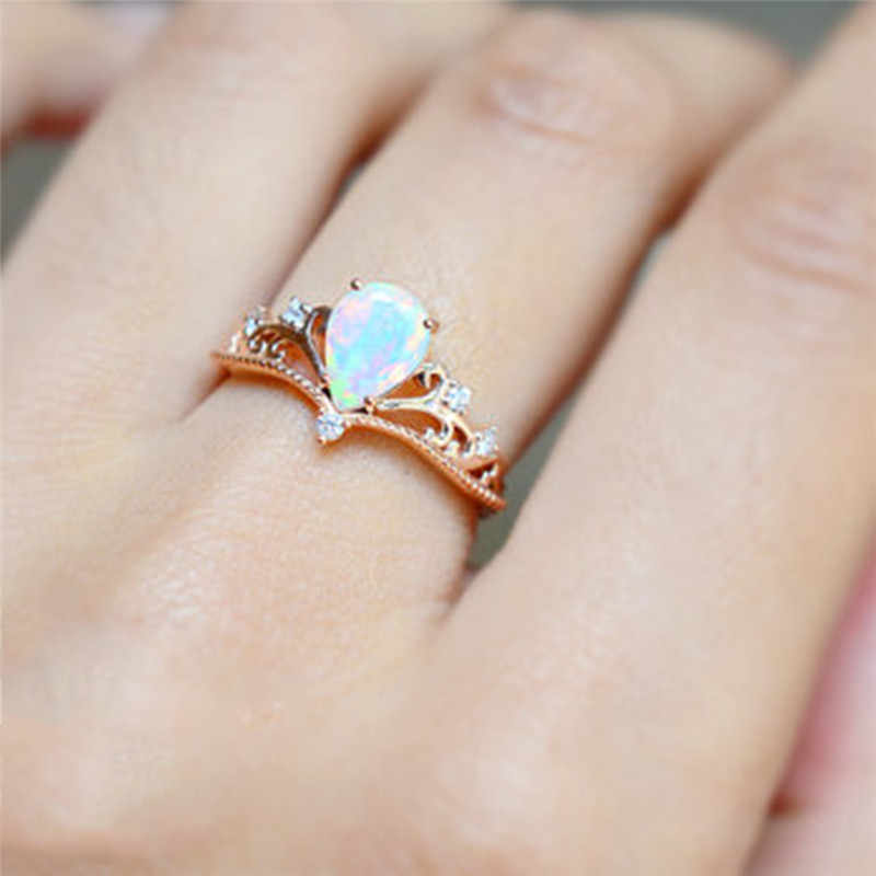 Opal Wedding Band.Romad Rose Gold Crown Ring Zircon Elegant Fire Opal Engagement Ring Wedding Band Rings For Women Jewelry Dropship Anillos Mujer