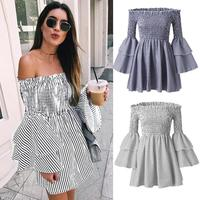 47ad96807 Summer 2019 New Solid Color Strapless Long Sleeve Sexy Mini Dress Elegant  Tight Sexy Beach Dress