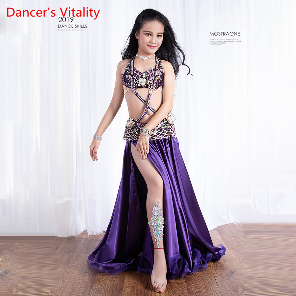 Children's Belly Dance Costume 2019 New Belly Dance Style Show Suits Bra And Split Skirt 2pcs M,L