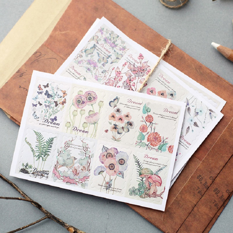 Vintage Flowers Postage Stamp Stickers Hand Painted Flowers Decor Stamp Stickers