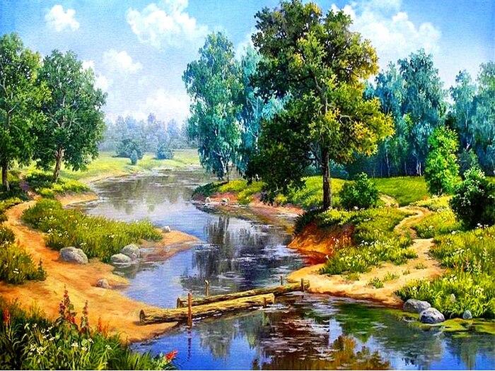 pastel lukisan pemandangan