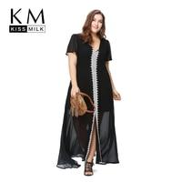 Kissmilk Plus Size New Fashion Women Long Night Dress Big Size Nightgown Sheer Evening Party Maxi Dress 3XL 4XL 5XL 6XL
