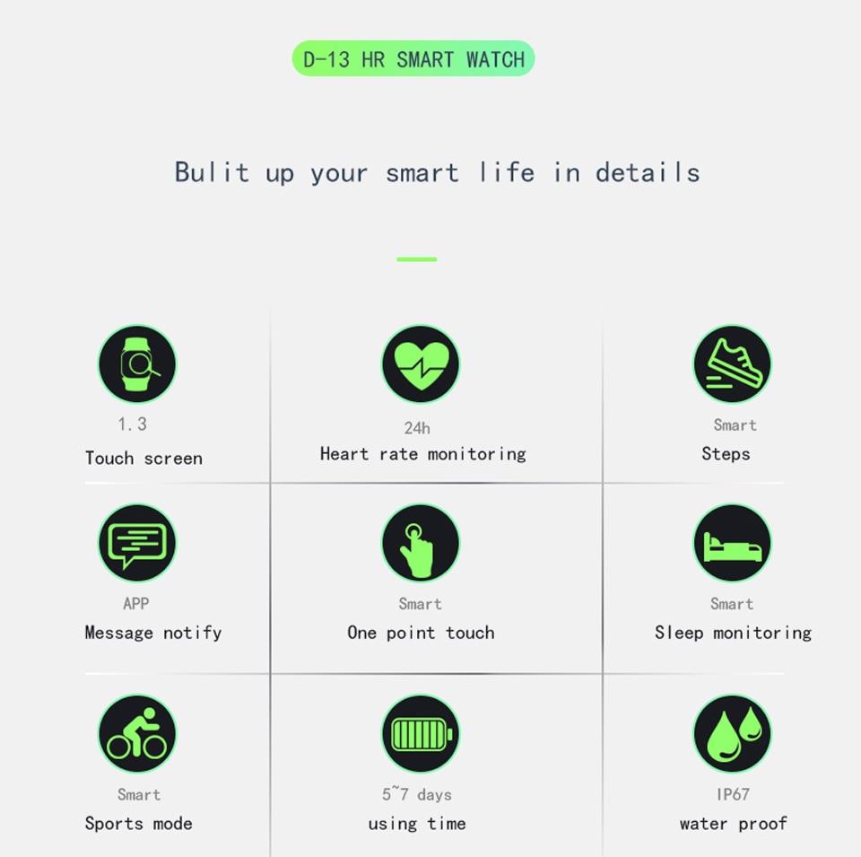 HTB1zf0kXEuF3KVjSZK9q6zVtXXaI Soulusic D13 Smart Bracelet For Android iPhone IP67 Waterproof Heart Rate Tracker Blood Pressure Oxygen Sport Wirstbands