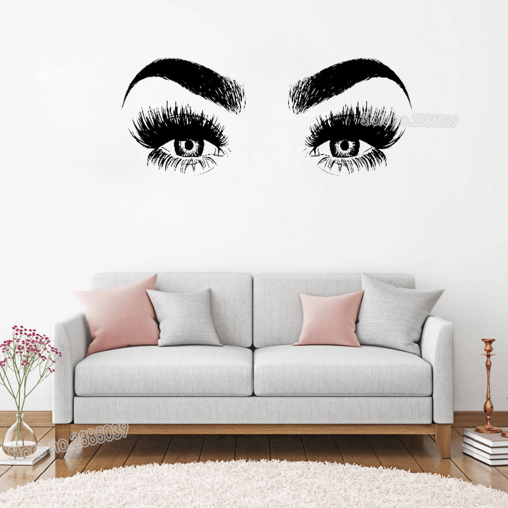 New Arrivals Eye Eyelashes Wall Decal Art Vinyl Home Wall Decor Large Lashes Eyebrows Wallpaper Diy Removable Wall Sticker LC147