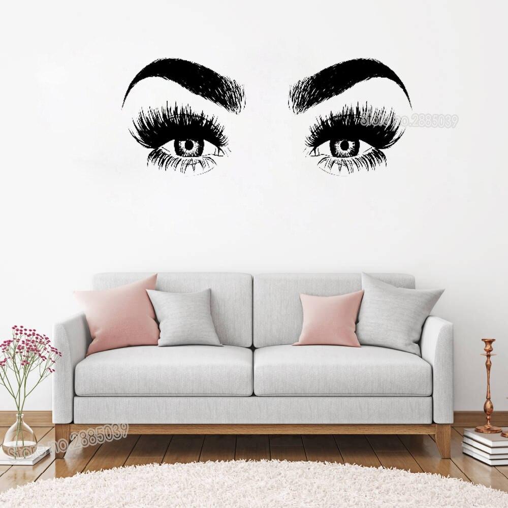 Nouveautés Eye Cils Sticker Art Vinyl Accueil Mur Décor Grand Cils Sourcils Papier Peint Diy Amovible Wall Sticker LC147