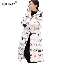 2017 Autumn and winter new women's long coat down jacket thickening fashion Slim Slim code printing warm cotton jacket
