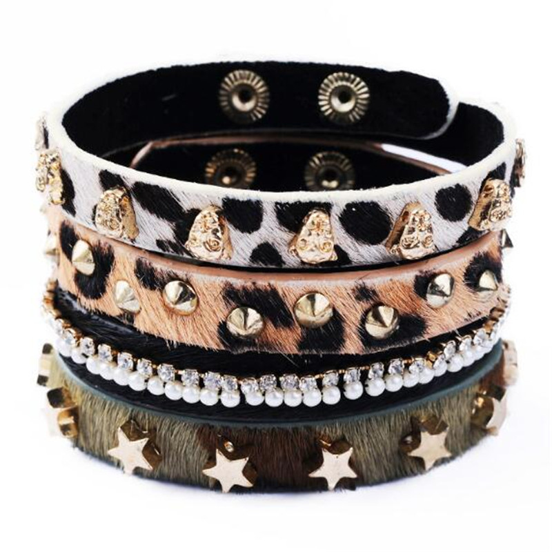 4 pcs lot unique design punk style fashion leopard print for Rivets for leather jewelry