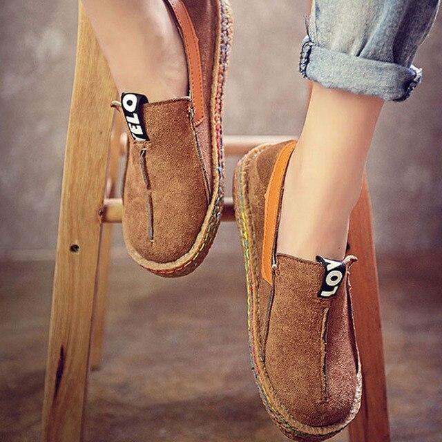 נשים דירות חדשות אביב ופרס נקבה בתוספת גודל אוקספורד נעלי גבירותיי מקרית להחליק על רדוד רך נוחות תפירה הנעלה