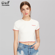 Dotfashion Lettuce Hem Edge Rib Knit Embroidered Tee Summer White Letter  Casual Women Top Short Sleeve