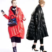New Original Design Camperas Mujer Invierno Parkas For Women Red /Black Duck Down Winter Thick Long Cocoon Down Jackets