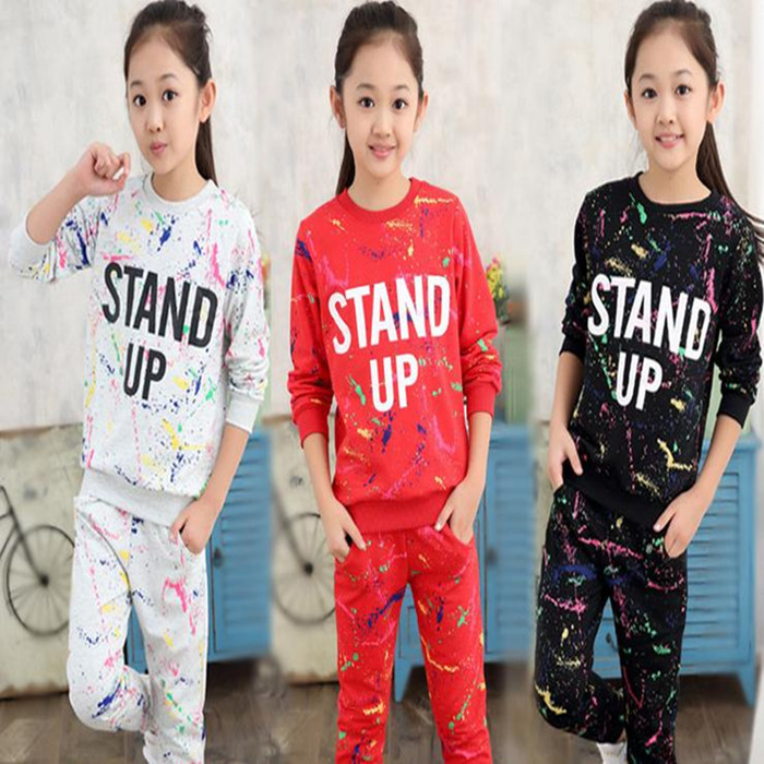Autumn Girl Clothing Sets Letter T-shirts+ Graffiti Pants Children Clothes Set 5-11 Years Kids Sports Suit Teenagers Tracksuit