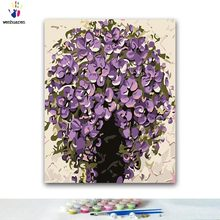 DIY Coloring paint by numbers Purple flower paintings by numbers with kits 40x50 framed(China)