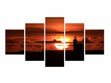 5 Pieces Free Shipping Modern Art Painting Wall Art Picture Paintings Sunset Red Sea Canvas Home Decorative Framed