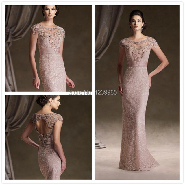 New Arrival Free Shipping Hot Sale Elegant Lace Cap Sleeve Scoop Long Column Mother Of The Bride Dresses Evening Dresses