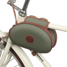 Tourbon Vintage Bicycle Frame Tube Bag Bike Cycling Pannier Two Pouches Wax Waterproof Canvas Multi-purpose Accessories
