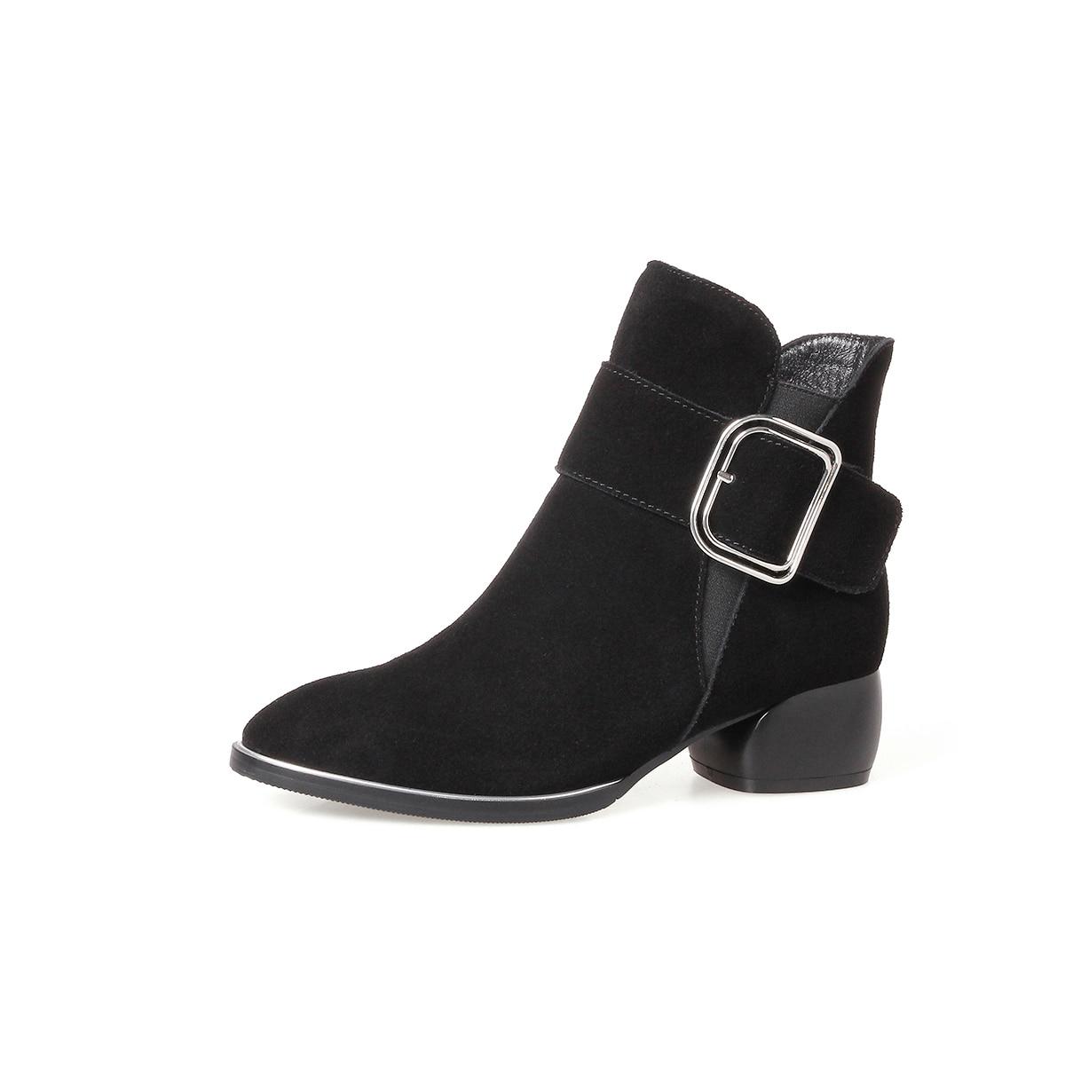 Zurriago Cuero Vintage Negro Tacón Para Mujeres Bajo Estilo Botas Zapatos marrón Nemaone De Auténtico Botines Mujer 2018 Calzado qwCAPPp