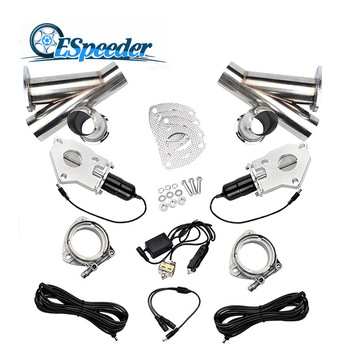 ESPEEDER 3.0 Inch Exhaust Cutout Stainless Steel Y Headers Catback Pair Manual Switch Cut Out Pipe Kit