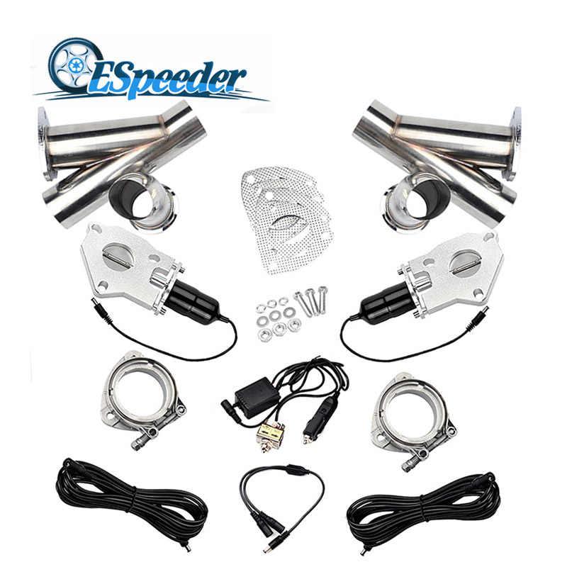 ESPEEDER 3.0 Inch Exhaust Potongan Stainless Steel Y Header Muffler Pasangan Saklar Manual Memotong Pipa Kit