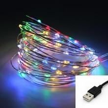 Светодиодный фонарь 5 м 10 м 50 светодиодный s 100 светодиодный s 5 в USB питание медный провод водонепроницаемый Светодиодный светильник для рождественской вечеринки свадьбы